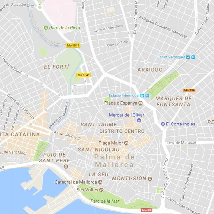 Mapa Callejero de Palma-de-Mallorca