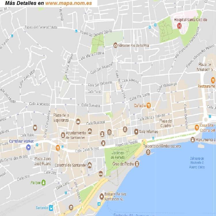 Mapa De Santander España.Mapa Callejero De Santander Cantabria Plano