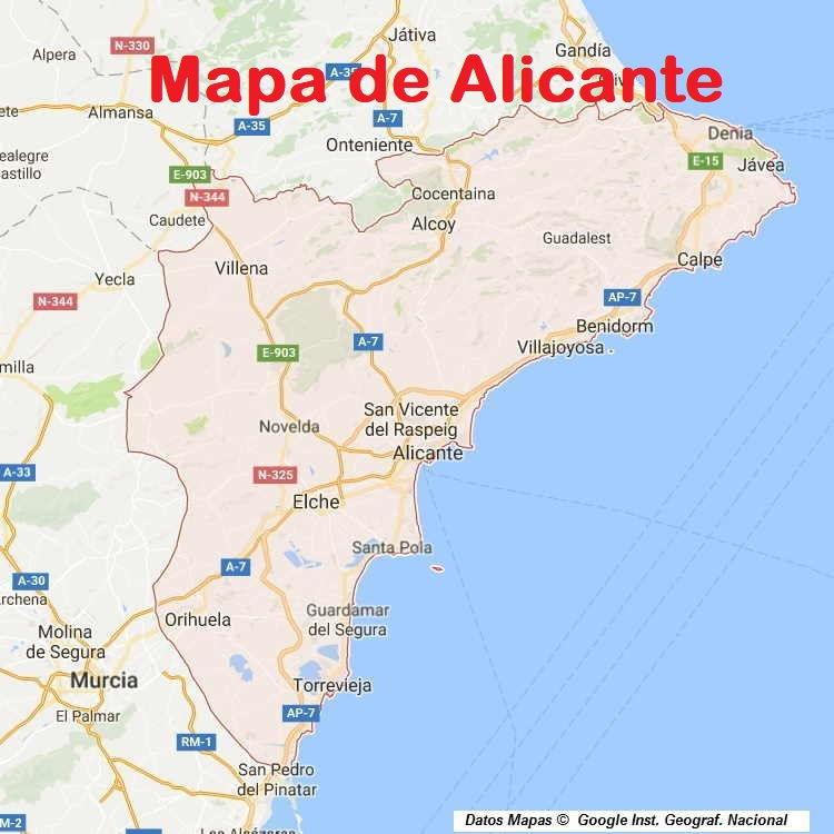 Mapa Provincia De Alicante.Mapa De Alicante Alacant Provincia Y Pueblos Pagina 1