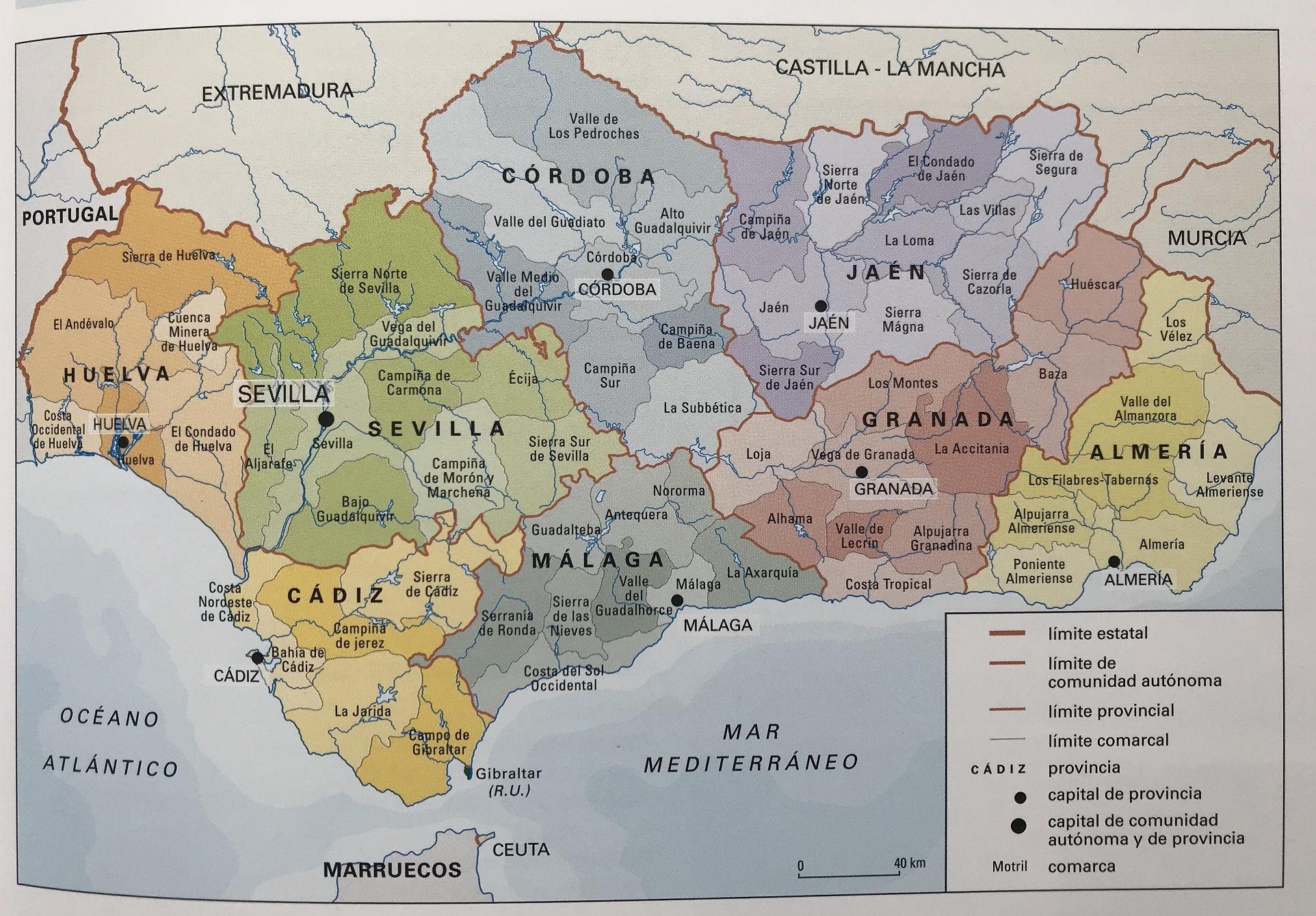 Mapa Provincia De Sevilla Para Imprimir.Mapa De Andalucia Fisico Y Politico Mapa Nom Es