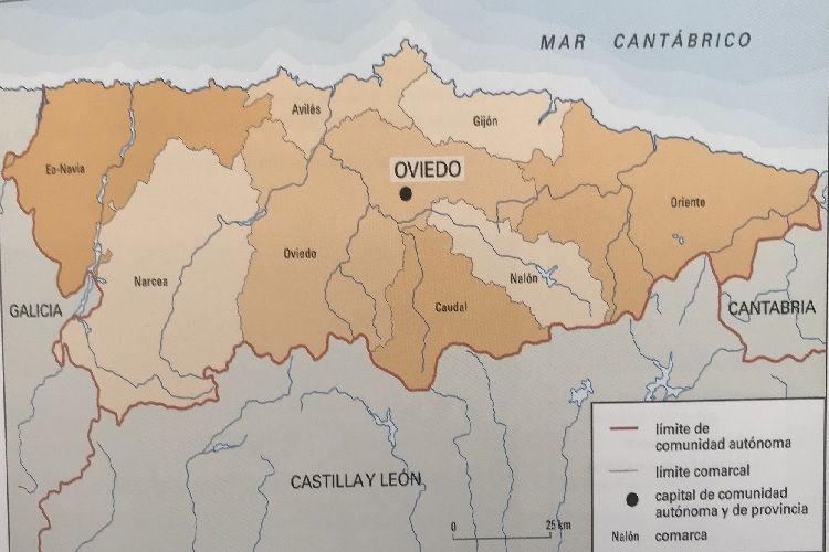 Mapa De Asturias Espana Fisico Y Politico
