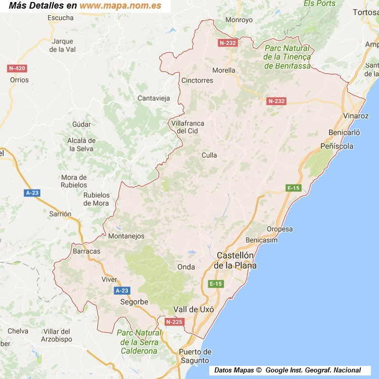 Provincia De Castellón Mapa.Mapa De Castellon Castello Provincia Y Pueblos Pagina 1