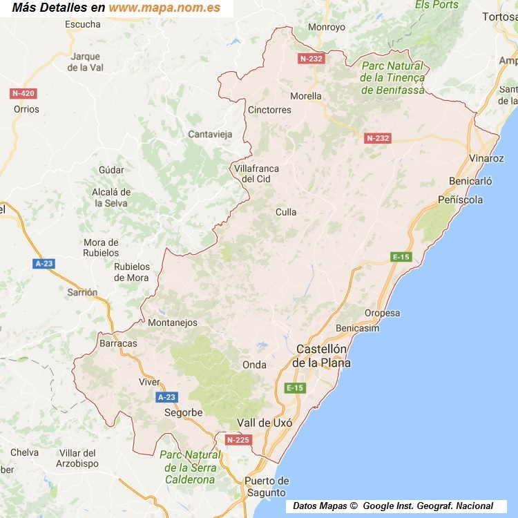 Mapa Provincia Castellon Municipios.Mapa De Castellon Castello Provincia Y Pueblos Pagina 1