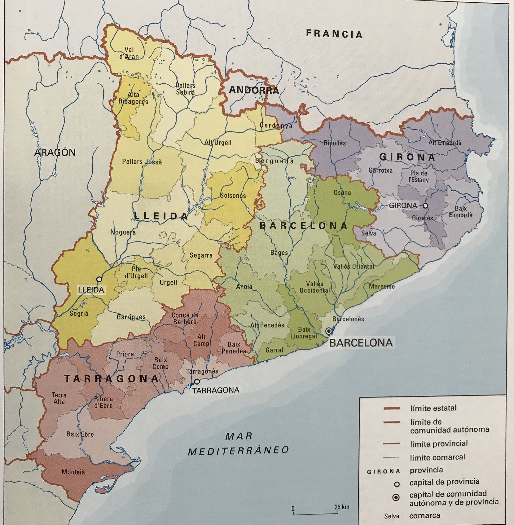 ⊛ MAPA DE CATALUÑA FISICO Y POLITICO España