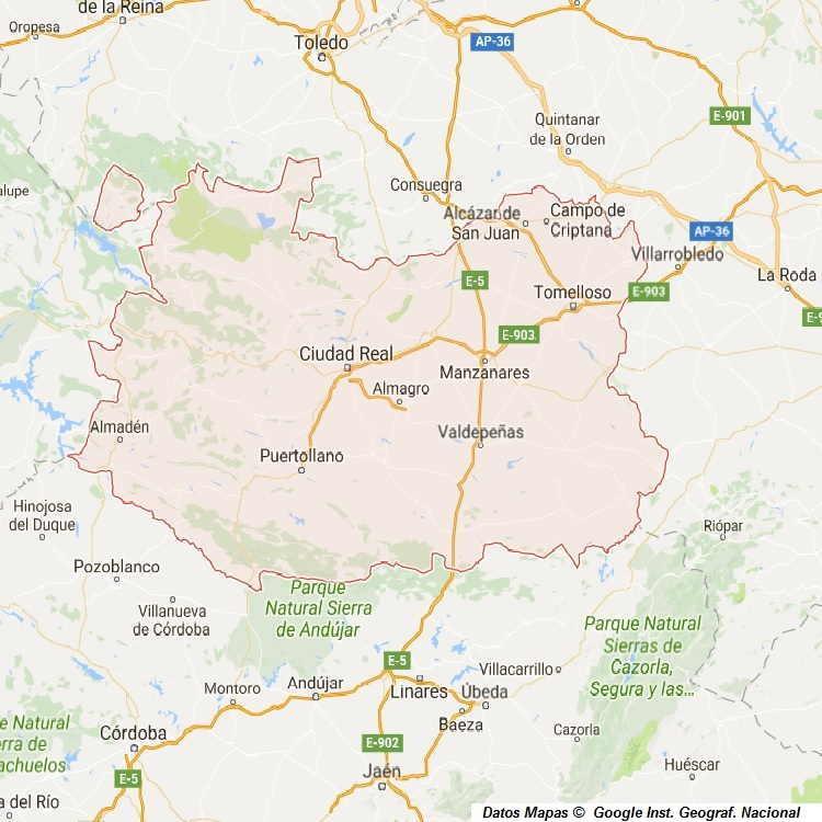 Mapa de ciudad real provincia y pueblos 54 - Plano de ciudad real ...