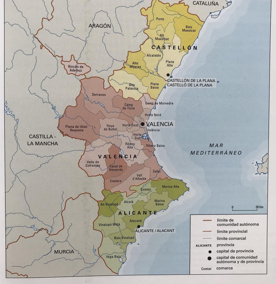 Mapa Fisico Comunitat Valenciana.Mapa Comunidad Valenciana Mapa Nom Es