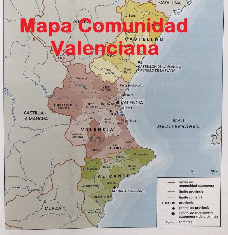 Mapa De Valencia España.Mapa Comunidad Valenciana Mapa Nom Es