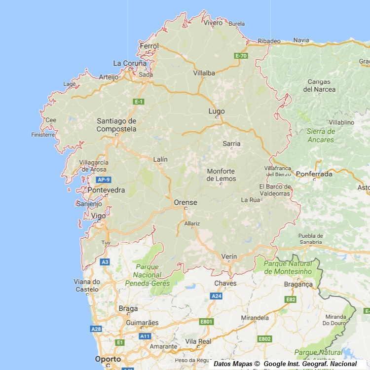 Mapa De Galicia Pueblos.Mapa De Galicia Fisico Y Politico Espana