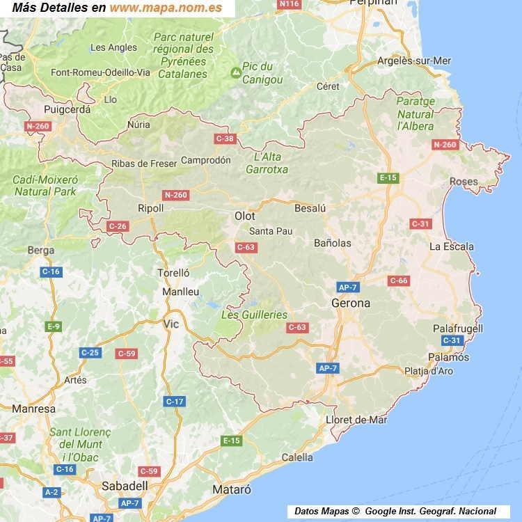 Mapa De Girona Provincia Y Pueblos Pagina 1