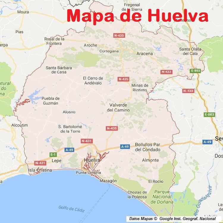 Pueblos De Huelva Mapa.Mapa De Huelva Provincia Y Pueblos Pagina 1