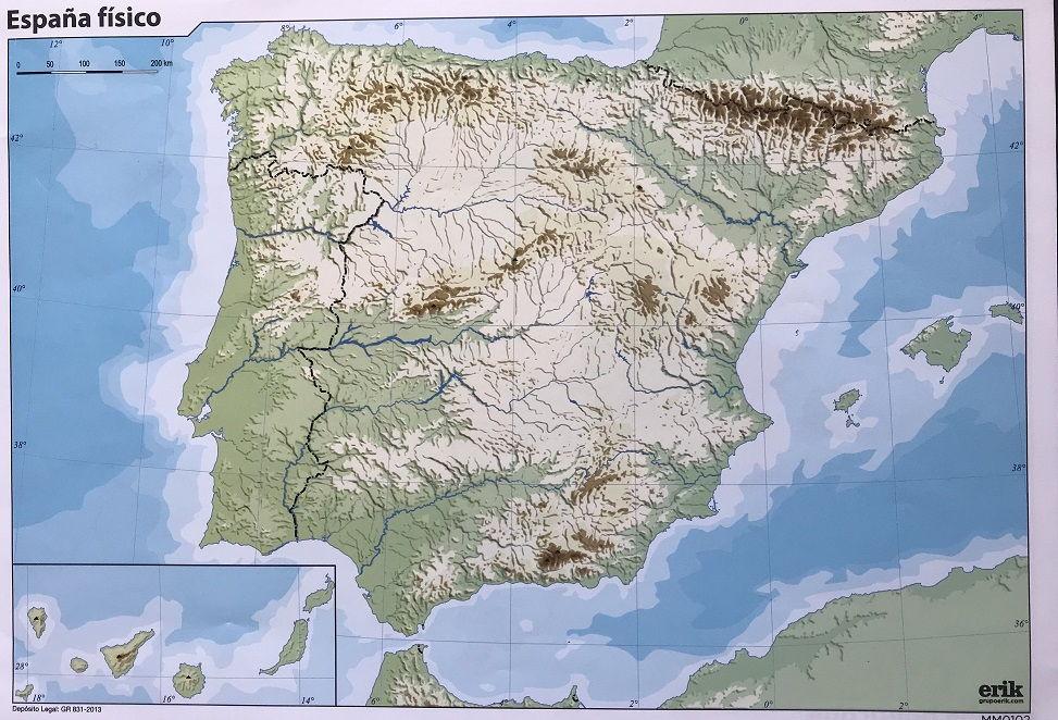 Mapa Mudo fisico de España