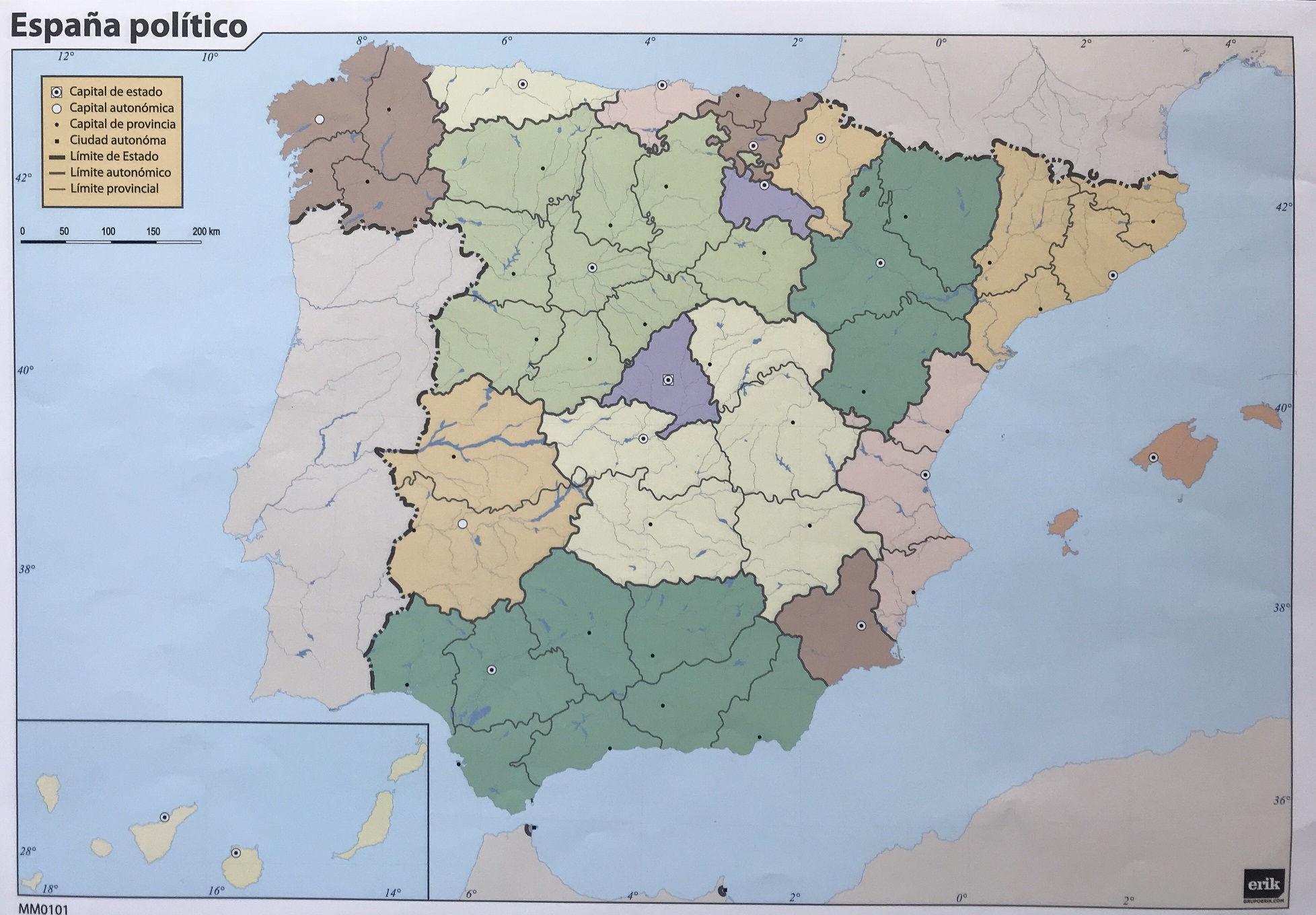 Mapa mudo politico de España