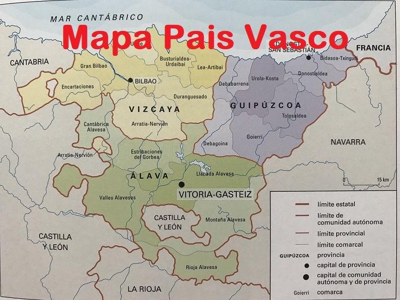Mapa del Pais Vasco Euskadi