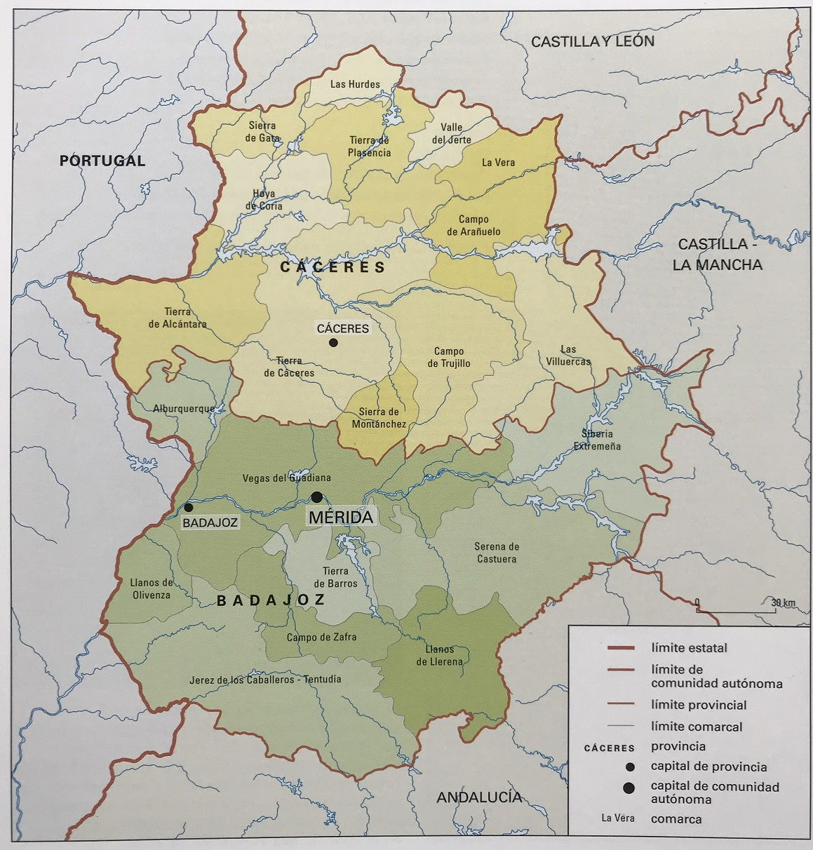 ⊛ MAPA DE EXTREMADURA FISICO Y POLITICO | Mapa.nom.es
