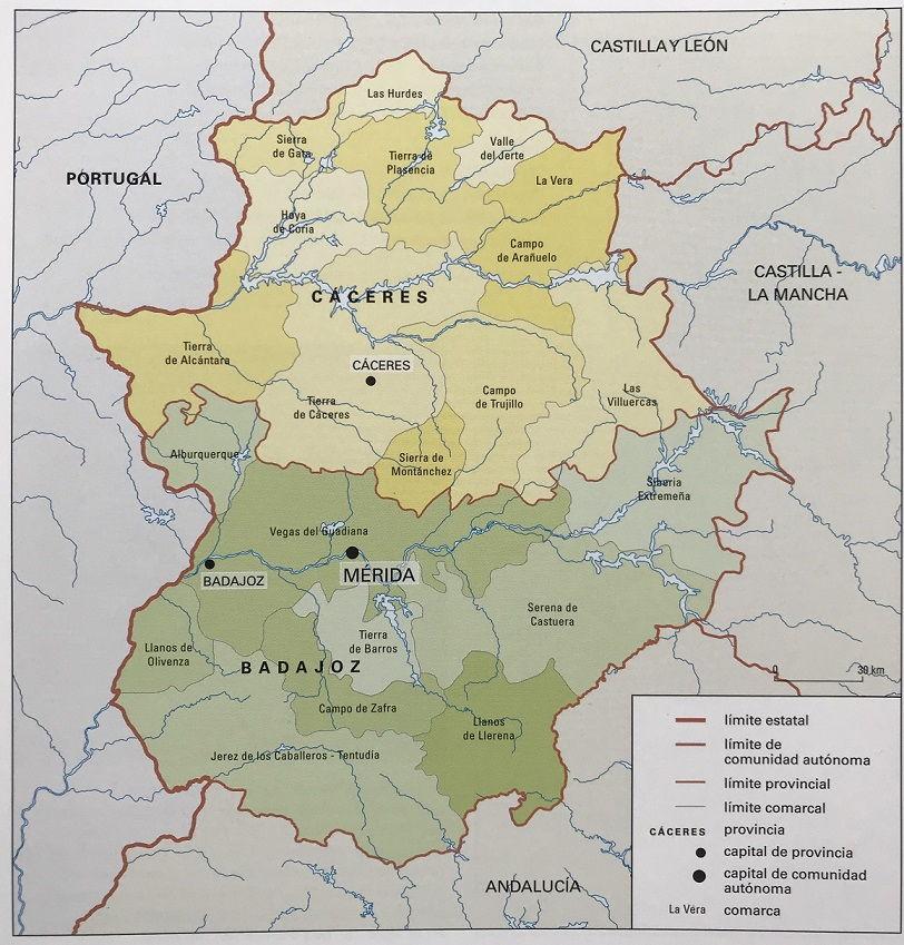 Mapa De Badajoz Capital.Mapa De Extremadura Fisico Y Politico Mapa Nom Es