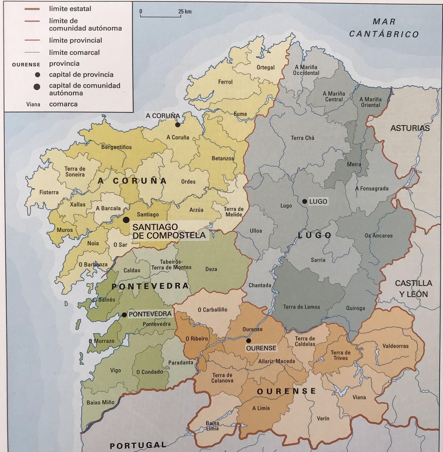 ⊛ MAPA DE GALICIA FISICO Y POLITICO España