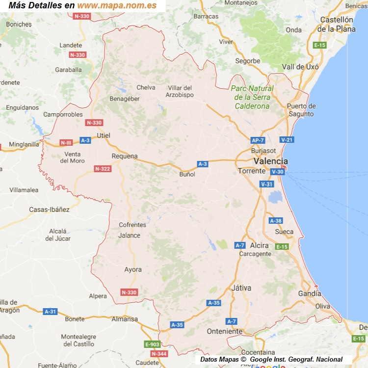 Mapa De Valencia España.Mapa De Valencia Provincia Y Pueblos Pagina 1