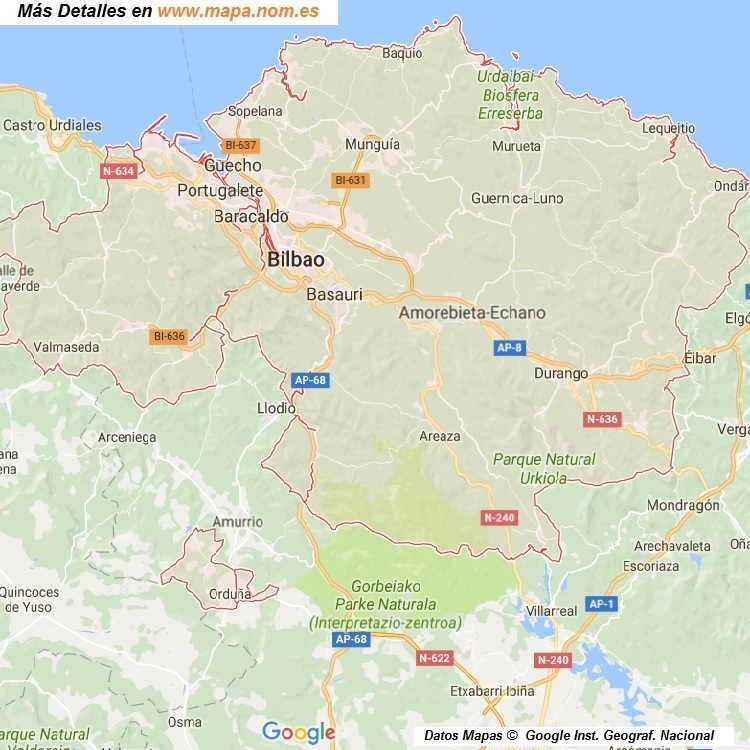 Mapa De Vizcaya Provincia Y Pueblos Pagina 1