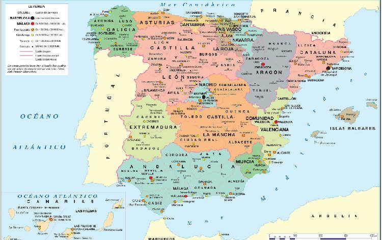 MAPA DE ESPAA FISICO Y POLITICO PUEBLOS
